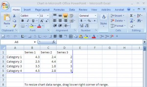 Excel data sheet